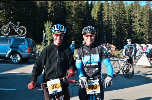 Team Jackson Hole rider Mike Piker (right) with Cary Smith